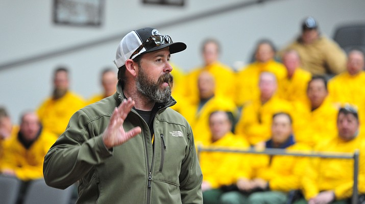 Instructor PJ Lingley talks to 92 students in four S130/190 Basic Wildland Firefighting classes at the Arizona Wildfire & Incident Management Academy before they go out on their field day at Embry-Riddle Aeronatical University, Wednesday, March 13, 2019, in Prescott. (Les Stukenberg/Courier)