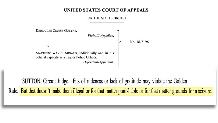 A federal appeals court says a Michigan woman's constitutional rights were violated when she was handed a speeding ticket after giving the finger to a suburban Detroit officer in 2017. The decision means a lawsuit by Debra Cruise-Gulyas can proceed.