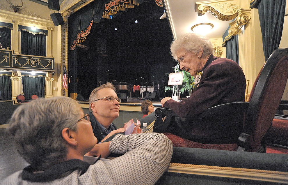 Elisabeth Ruffner talks with Dave Irvine Director of the Highland Center and his wife Claire Oberst March 19, 2015 before the start of Elisabeth: A Celebration and a Tribute to Elisabeth Ruffner at the Elks Opera House in downtown Prescott. (Courier file photo)