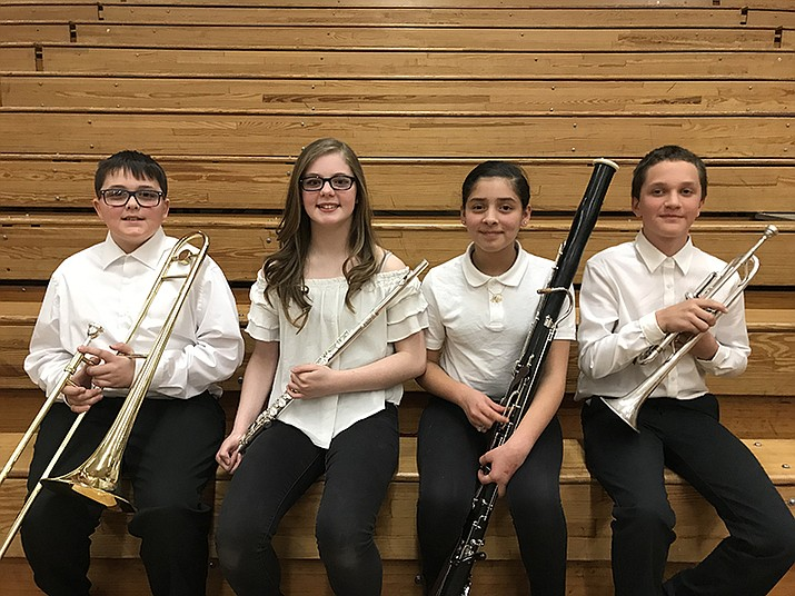 Pictured left to right: Van Holwell (sixth grade Trombone), Rylee Warren (seventh grade Flute), Alejandra Acuna (sixth grade Bassoon), Joseph McCoy (sixth grade Trumpet). (Photo courtesy of Julie Gragg)