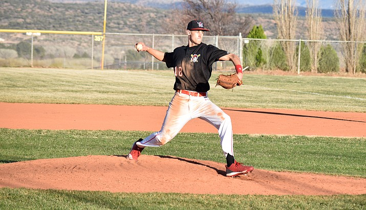 Mingus senior Chaz Taylor pitches during the Marauders' 11-1 home loss to Prescott on Mar. 5. After two years away from the sport, he's returned to the diamond. VVN/James Kelley