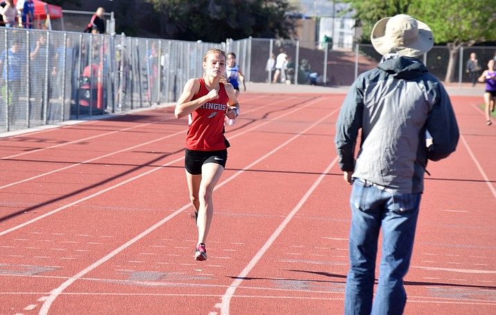 Mingus senior Meg Babcock blazed to a 2:19 in the 800 meters at last week's D3-4 Small Schools Invitational. VVN/James Kelley