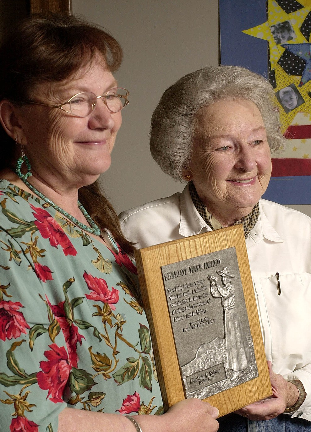 Melissa Ruffner, left, and mother Elisabeth display the Sharlot Hall Award April 18, 2003, won by Elisabeth in 1993. Melissa is the current winner of the award , presented to both mother and daughter. (Courier file photo)
