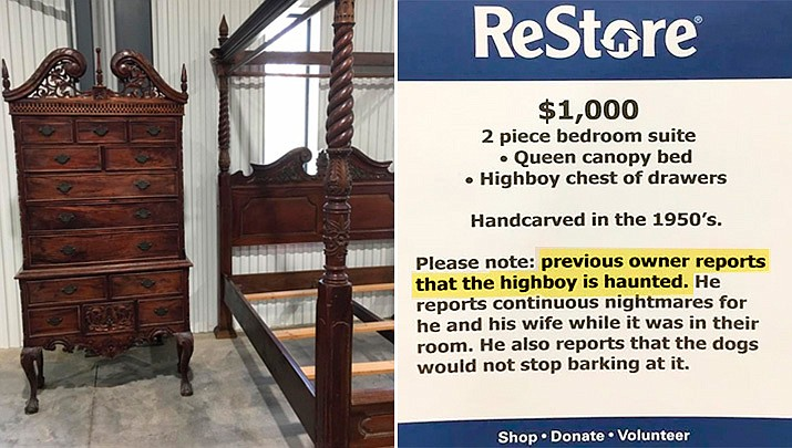 """News outlets reports Habitat for Humanity Rowan County's ReStore warned would-be customers that the previous owner reported he and his wife had """"continuous nightmares"""" while the furniture was in their bedroom. (Habitat for Humanity ReStore of Rowan County)"""