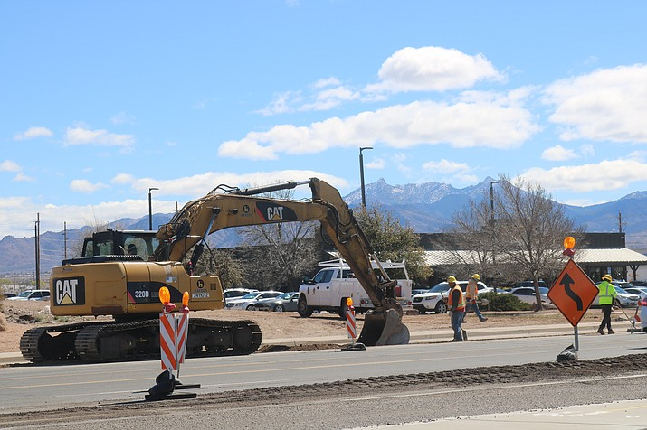 The northbound crew continues work on Stockton Hill Road Thursday, March 14. (Photo by Travis Rains/Daily Miner)