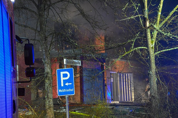 In this Wednesday, March 13, 2019 photo a crematorium is pictured in Schwaebisch Hall, Germany. A fire at that crematorium in southern Germany has caused significant damage to the building. (Koss/SDMG/dpa via AP)