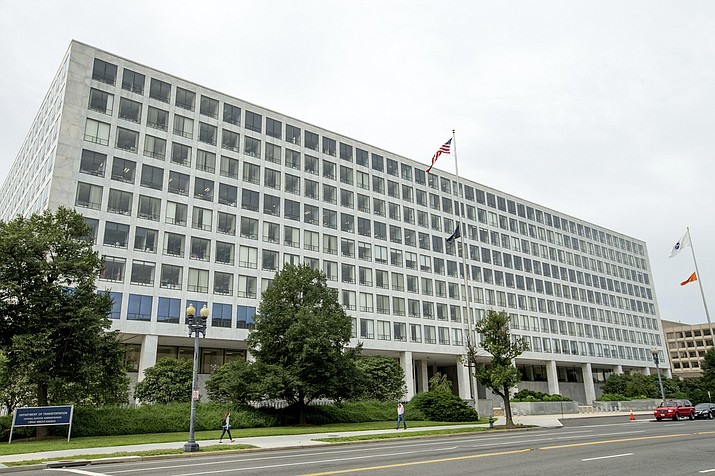 This Friday, June 19, 2015 file photo shows the Department of Transportation Federal Aviation Administration building, in Washington. (AP Photo/Andrew Harnik, File)