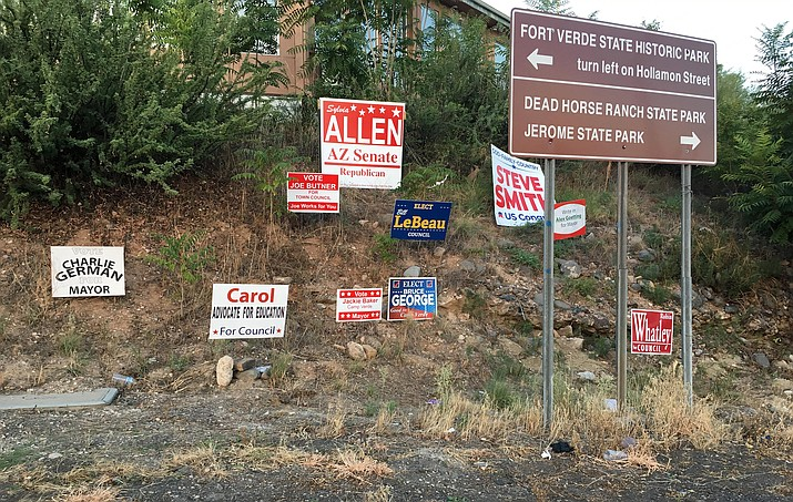 It's possible that Camp Verde could prohibit political signs on Finnie Flat Road if council were to designate SR 260 between I-17 and Finnie Flat Road, as well as Finnie Flat Road and Main Street as a commercial tourism zone. VVN/Bill Helm