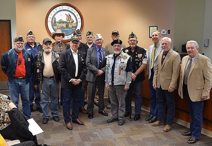 The Yavapai County Board of Supervisors with Yavapai County members of the American Legion as March 17 is proclaimed American Legion Day. (David McAtee/Courtesy)