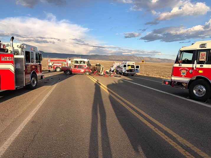 Members of the Central Arizona Fire & Medical Authority (CAFMA), along with Prescott Valley Police and Arizona DPS, arrived on scene of a motor vehicle accident on 89A and Coyote Springs Road where seven people were reportedly injured Sunday, March 17, 2019. (CAFMA/Courtesy)