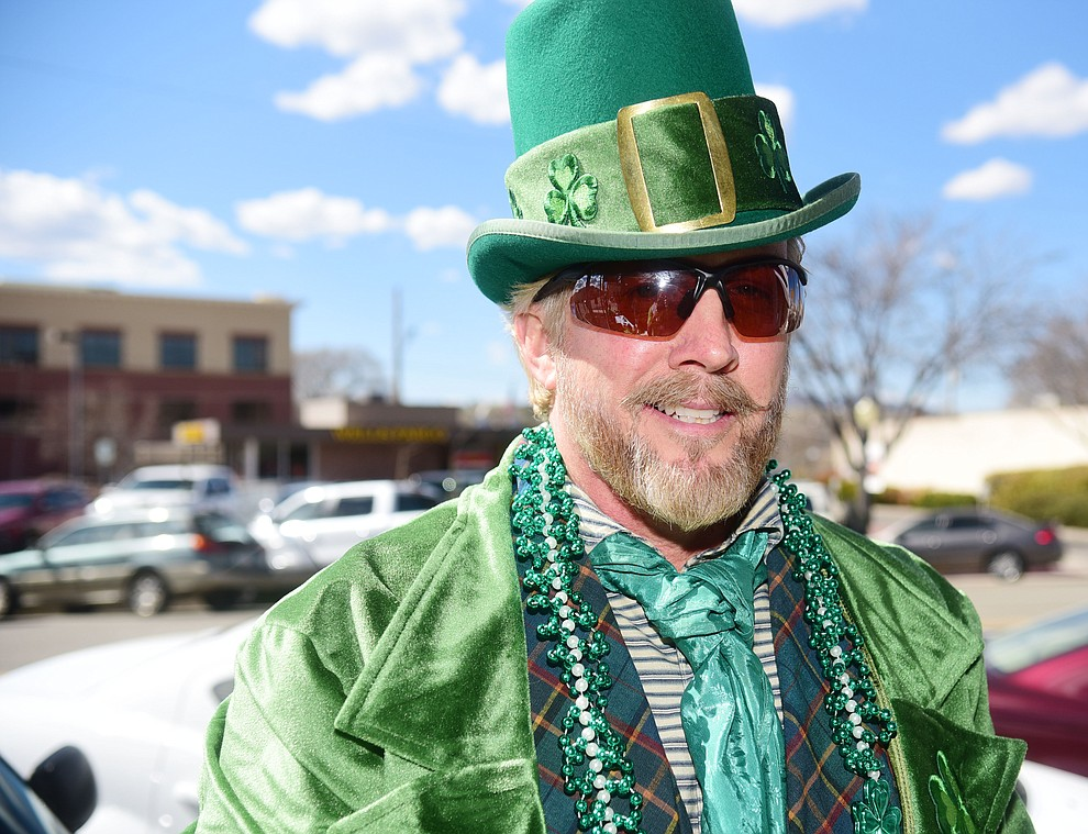 Brian Bever is all decked out for the 2019 St. Patrick's Day Pub Crawl Sunday, March 17, 2019 in downtown Prescott. (Les Stukenberg/Courier)