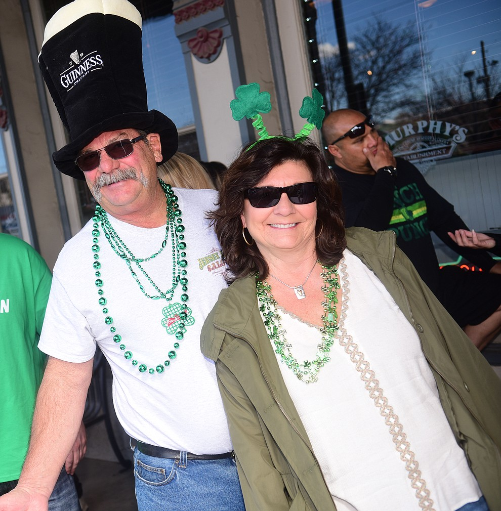 Rick Maggard and Pam RIsaliti start their 2019 St. Patrick's Day Pub Crawl Sunday, March 17, 2019 in downtown Prescott. (Les Stukenberg/Courier)