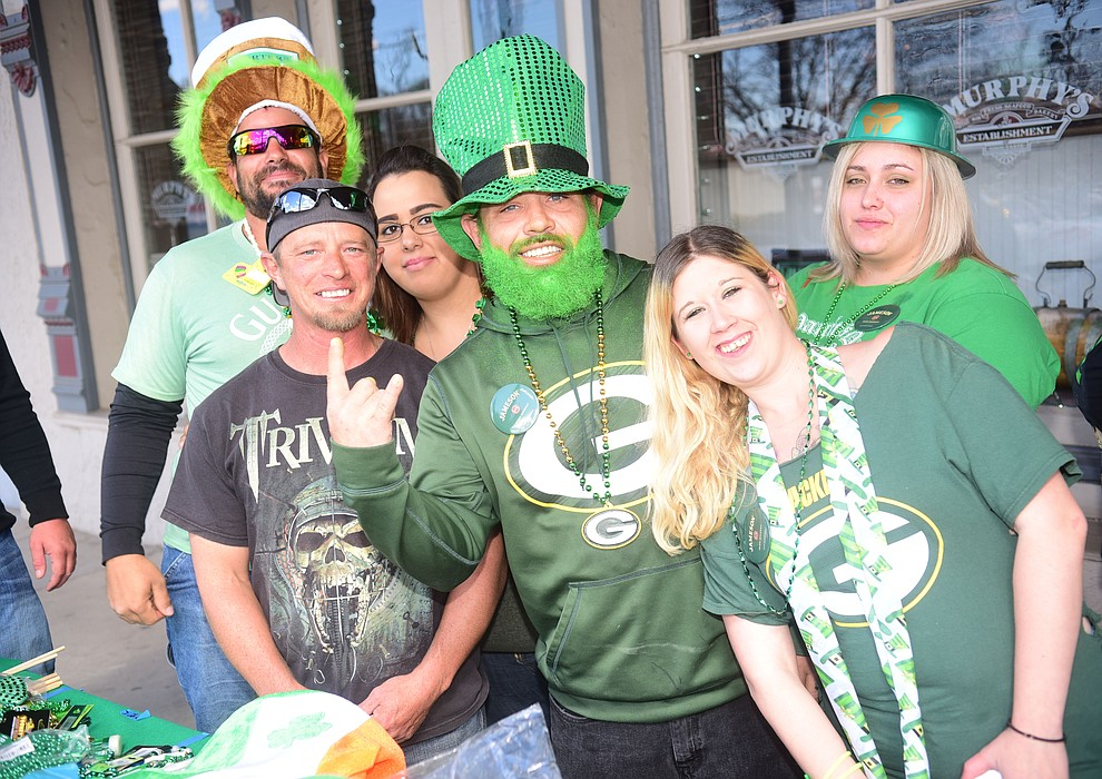 Pete, Jimmy, Paul Smith, Vanessa, Chrissy, and Miraella Smith start their crawl during the 2019 St. Patrick's Day Pub Crawl Sunday, March 17, 2019 in downtown Prescott. (Les Stukenberg/Courier)
