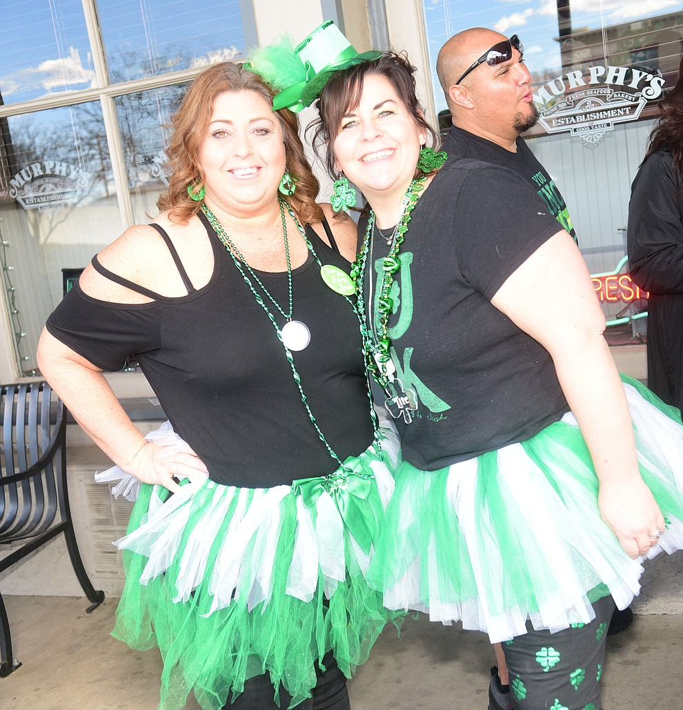 Karen Chandler and Gina Welch donned tutu's for the 2019 St. Patrick's Day Pub Crawl Sunday, March 17, 2019 in downtown Prescott. (Les Stukenberg/Courier)