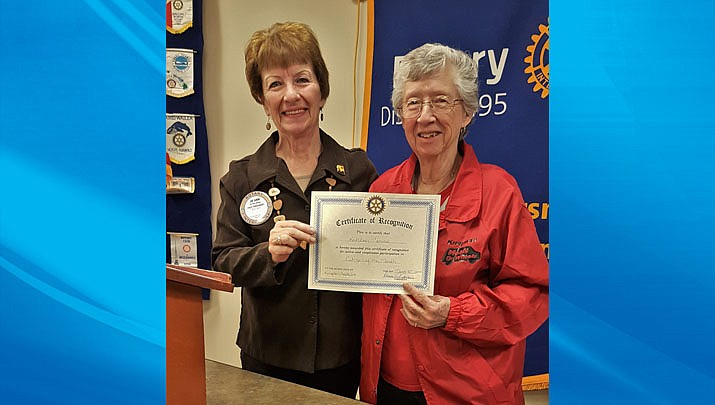 Kathleen Caruso, right, was presented with Citizen of the Month for the month of March. Caruso is pictured with rotarian Jo Ann Oxsen. (Photo courtesy of Kingman Route 66 Rotary Club)