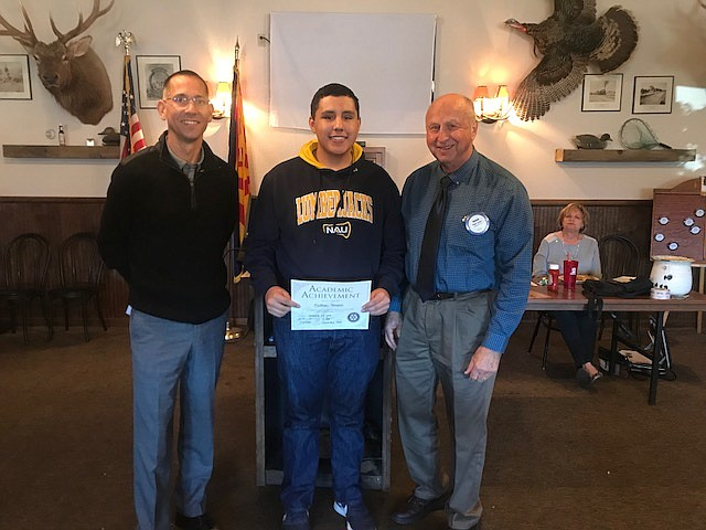 Matthew Mendez, middle, a Kingman High School senior, was selected as the Kingman Rotary Club's Student Rotarian. (Photo courtesy Jenn Pickering)