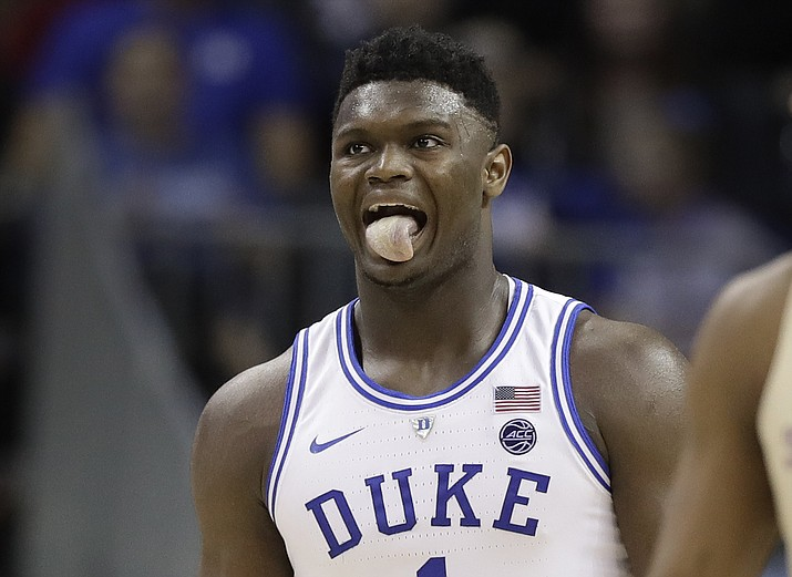 Duke's Zion Williamson (1) reacts during the second half against Florida State in the NCAA college basketball championship game of the Atlantic Coast Conference tournament in Charlotte, N.C., Saturday, March 16, 2019. (Chuck Burton/AP)