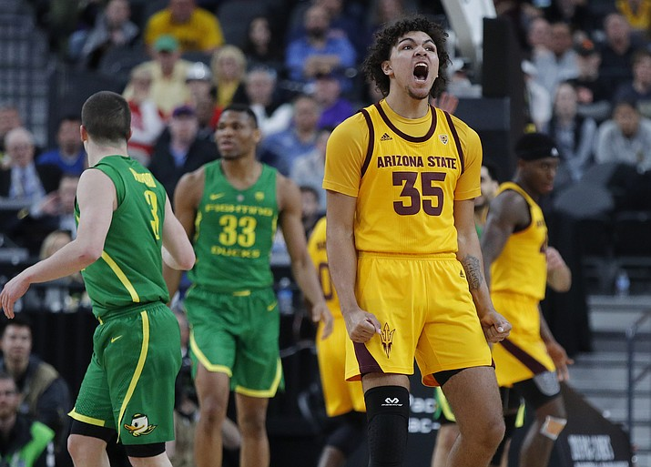Arizona State's Taeshon Cherry (35) celebrates after a play against Oregon during the first half of an NCAA college basketball game in the semifinals of the Pac-12 men's tournament Friday, March 15, 2019, in Las Vegas. (John Locher/AP, file)