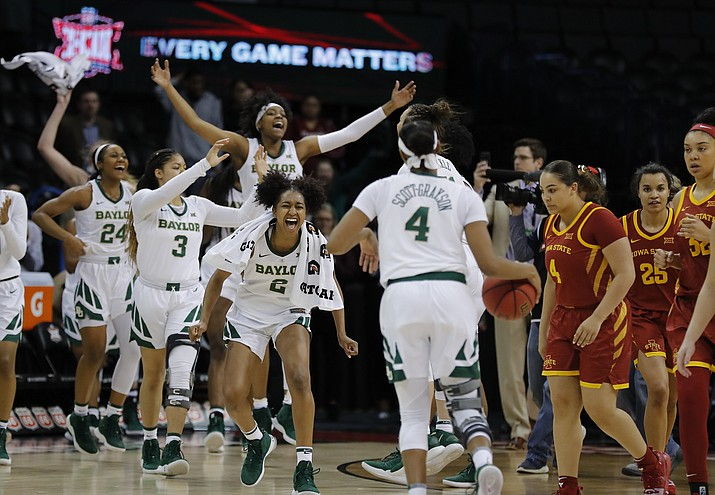 Baylor celebrates after defeating Iowa State during the Big 12 women's conference tournament championship in Oklahoma City, Monday, March 11, 2019. Baylor won 67-49. (Alonzo Adams/AP)