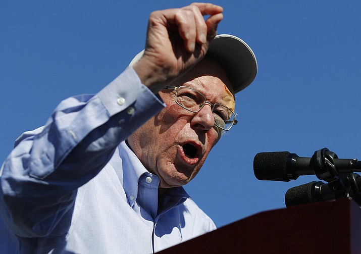 In this March 16, 2019 photo, Democratic presidential candidate Sen. Bernie Sanders speaks at a rally in Henderson, Nev. Sanders spent much of 2016 talking of revolution. In 2019, he's turned to a subject that's a bit more pragmatic: electability. (AP Photo/John Locher)