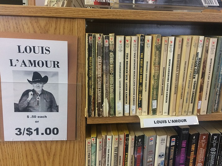 Louis L'Amour books for sale at the Chino Valley Public Library, 1020 W. Palomino Road. Through the end of March, Westerns and stories of the West are on sale, 50 cents each or three for $1. All proceeds benefit the Chino Valley Public Library. (Jason Wheeler/Review)