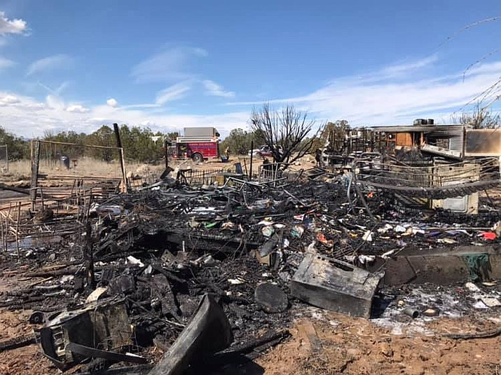 A yurt and trailer in Paulden were destroyed by fire midday Tuesday, March 19.