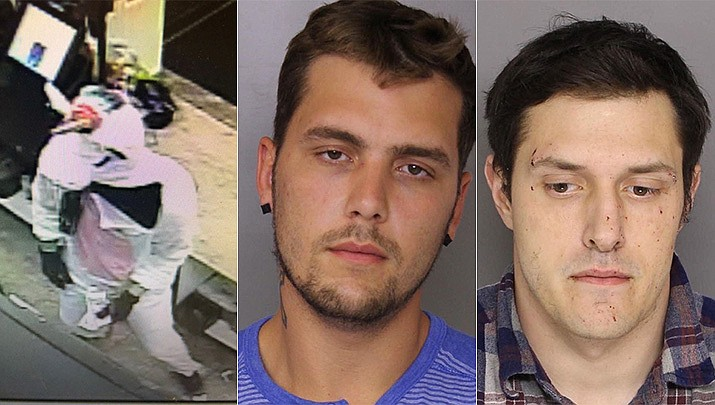 Baltimore County police have captured Jacob William Rogge, center, suspected of robbing a convenience store on Saturday, March 17, 2019 dressed in a unicorn costume, left. Rogge donned a pink-and-white unicorn costume and smashed a High's Dairy Store register with a crowbar. Police say 27-year-old Joseph Philip Svezzese, far right, drove Rogge, who fled with cash and cigarettes.(Baltimore County police)