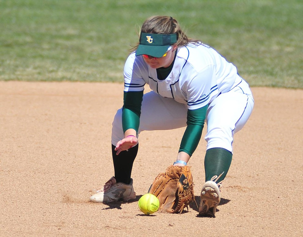 Yavapai's Brianna Griffiths makes a play at shortstop as the Roughriders take on the Chandler Gilbert Coyotes Tuesday, March 19, 2018 in Prescott.