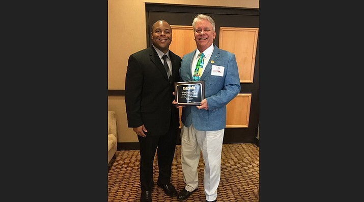 From left to right: Justin Garrison and Kurtis Manley, pose with their award from the Arizona State Association of Physician Assistants during the ASAPA Spring Conference March 8 in Prescott. (Photo courtesy of KRMC)