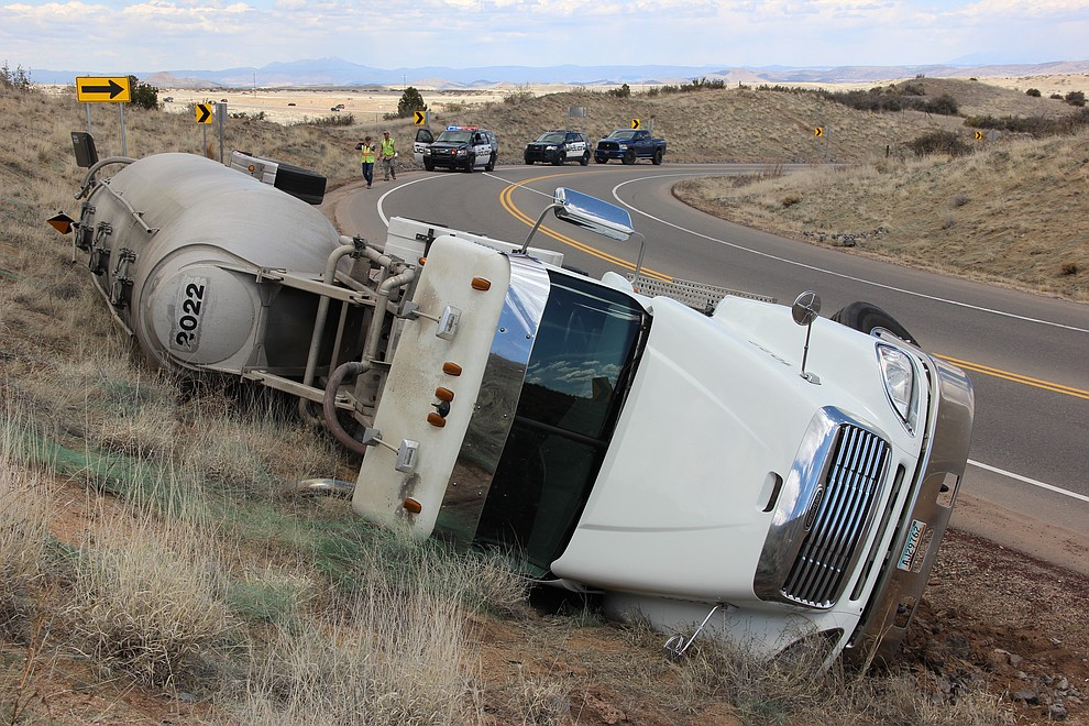 A cement truck tipped over on Deep Well Ranch Road Tuesday, March 19, 2018 in Prescott. (Max Efrein/Courier)