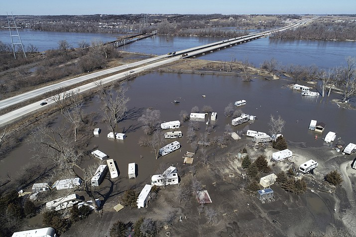 Flooding near the Platte River in in Plattsmouth, Neb., south of Omaha, on Wednesday, March 20. The National Weather Service is warning that flooding in parts of South Dakota and northern Iowa could soon reach historic levels. (DroneBase via AP)