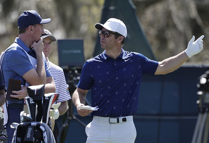 Paul Casey, of England, seen during the first round of The Players Championship on Thursday, March 14, 2019, in Ponte Vedra Beach, Fla., has a share of the lead with Austin Cook in the Valspar Championship after play Friday, March 22. (Lynne Sladky/AP file)