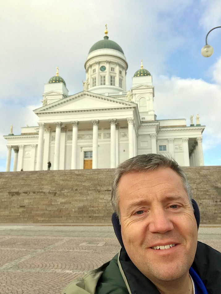 Clark Tenney in a selfie in front of Helsinki Evangelical Lutheran Cathedral. (Clark Tenney/Courtesy)