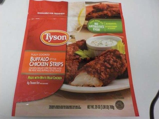 Tyson fully cooked buffalo style chicken strips chicken breast strip fritters with rib meat and buffalo style sauce.