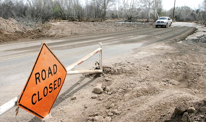 Tuesday, the Town of Camp Verde reopened Verde Lakes Drive, which was closed between Cat Claw Drive and Ripple Road since Feb. 14 due to heavy rain. VVN/Bill Helm