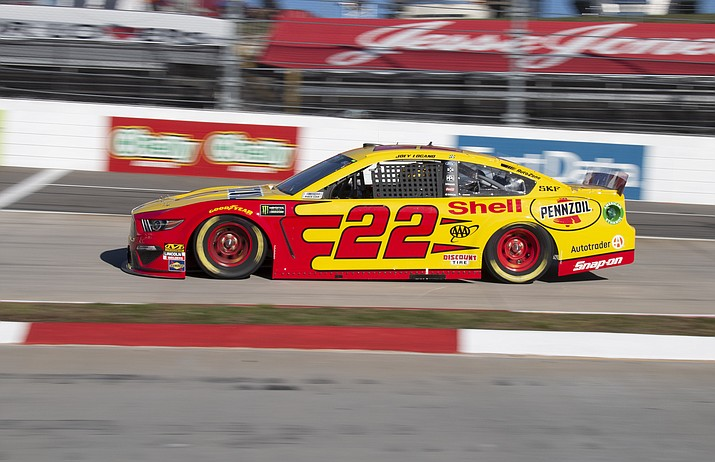 Joey Logano drives during qualifying for a NASCAR Cup Series auto race at Martinsville Speedway in Martinsville, Va., Saturday, March 23, 2019. (Matt Bell/AP)