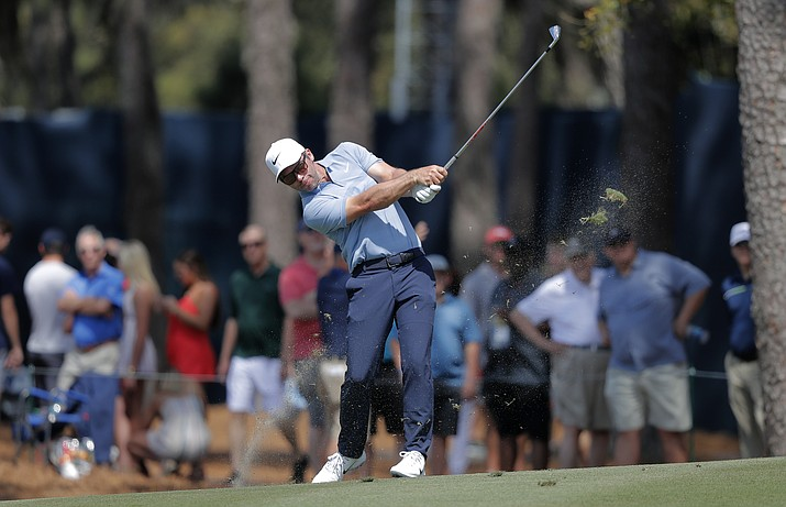 Paul Casey of England, seen during The Players Championship on Friday, March 15, 2019, in Ponte Vedra Beach, Fla., leads this week's Valspar Championship in Palm Harbor, Fla., after Saturday's third round. (Gerald Herbert/AP, file)