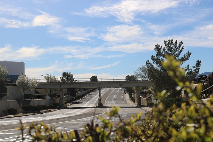 The one entrance into the Kingman Airport and Industrial Park gives industry pause when looking to locate in Kingman, an issue that would be addressed by the Rancho Santa Fe traffic interchange. (Photo by Travis Rains/Daily Miner)