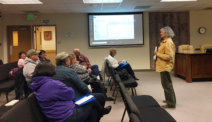 Kay Lauster of the Chino Valley Historical Society presents at the first session of the Chino Valley Citizens Academy in the Town Council Chambers at Chino Valley Town Hall Thursday, March 21. There are seven more sessions of the 2019 Citizens Academy, which run from 6 to 8:30 p.m. Thursday evenings through Thursday, May 9, at Chino Valley Town Hall, 202 N. Highway 89. (Lorette Brashear/Courtesy)