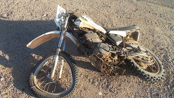 A Minnesota man was killed while riding this motorcycle Friday, March 22, 2019 in Golden Valley. Mohave County Sheriff's Office reported the man, who was not wearing a helmet, collided with a truck. (Mohave County Sheriff's Office photo)
