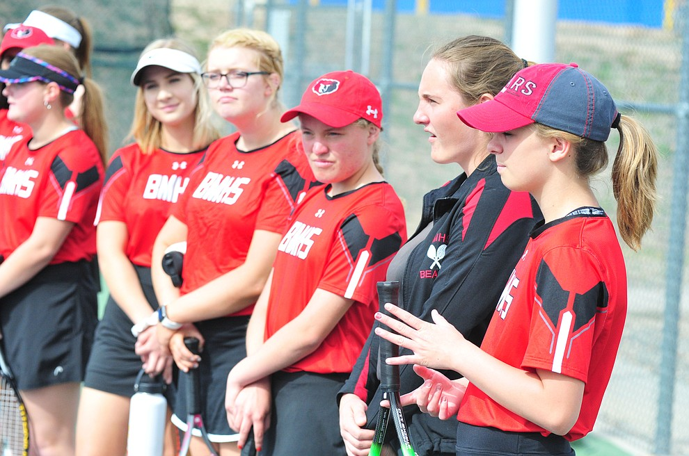 Bradshaw Mountain's girls tennis team traveled to Prescott High Tuesday, March 26. (Les Stukenberg/Courier)