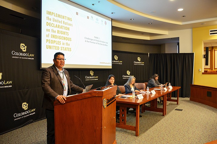 Delegate Nate Brown (Chilchinbeto, Dennehotso, Kayenta) delivered remarks to the Implementing the United Nations Declaration on the Rights of Indigenous Peoples in the United States Conference at the University of Colorado Law School. (Navajo Nation Office of the Speaker)