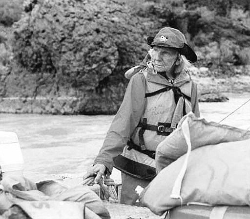 Georgie White Clark piloting her rig down the Colorado River  in 1990 at age 79. (Photo/NAU Cline Library)