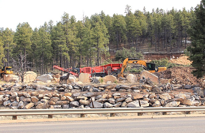 Road improvements are underway on private land on E. Route 66. The land owner has donated property for the city of Williams new 1 million gallon water storage tank. (Wendy Howell/WGCN)