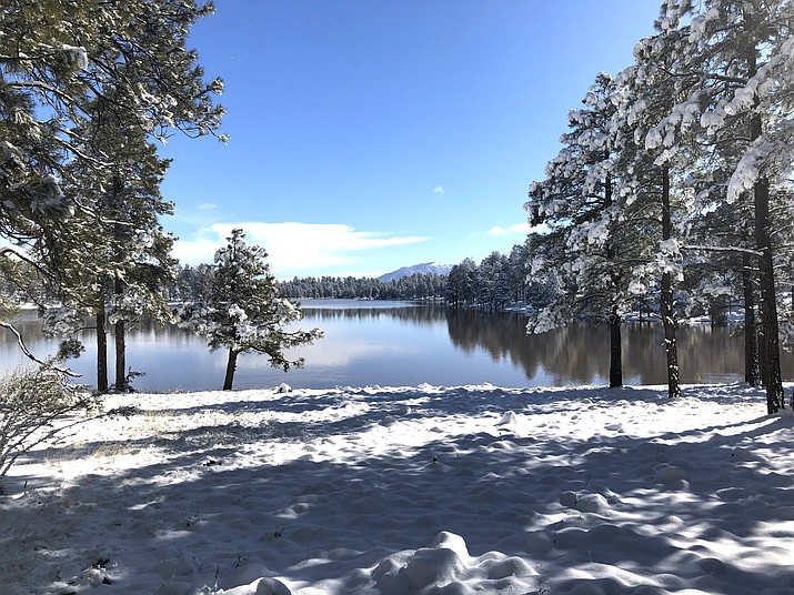 Snow covers the ground at Kaibab Lake after a late March storm. (Wendy Howell/WGCN)