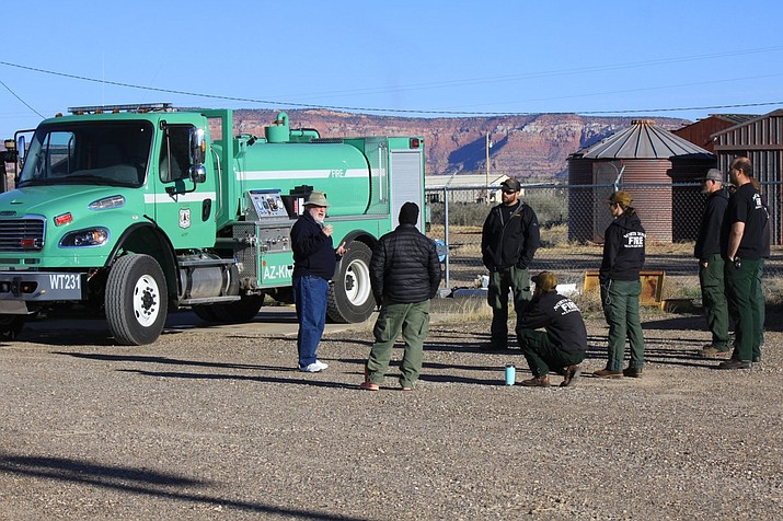 Fire personnel on the North Kaibab Ranger District are gearing up for wildfire season with water tender training near the North Rim. Training including familiarization with the tender's features and a hands-on look at the truck's capabilities. (Photo/KNF)