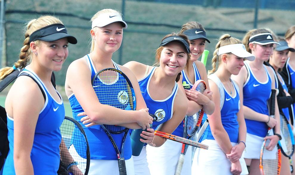 Prescott High's girls tennis team hosted Bradshaw Mountain Tuesday, March 26 in Prescott. (Les Stukenberg/Courier)