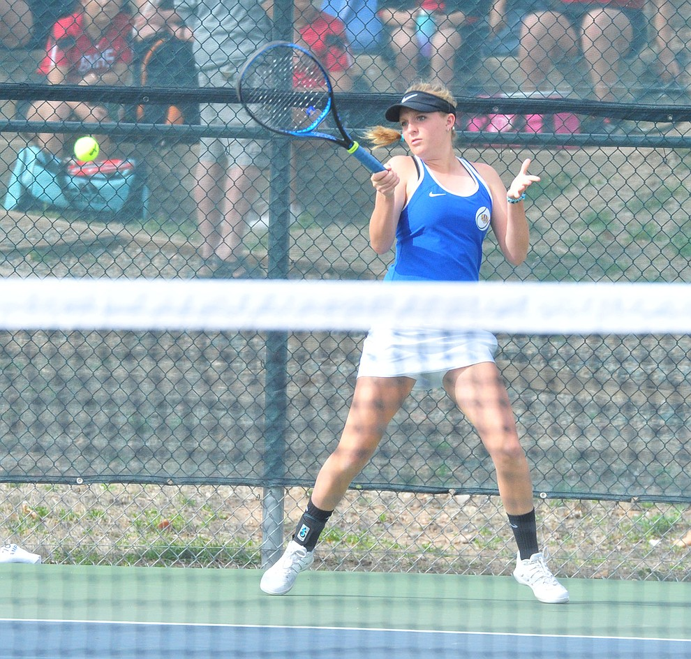 Prescott's Ava Andrews hits a return as the Badgers hosted Bradshaw Mountain in girls tennis Tuesday, March 26. (Les Stukenberg/Courier)