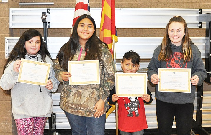 From left: Maine Consolidated School students Brooklyn Michelena, Rachel Skaggs, Brayden Ward and Kyree Overman were recognized as March Students of the Month. (Submitted photo)