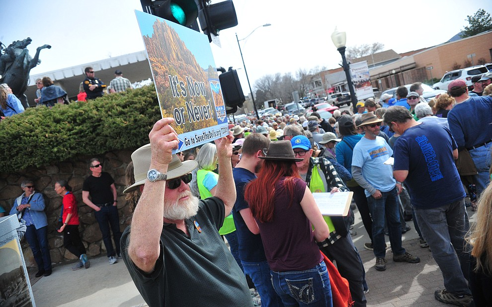 Several hundred Save the Dells supporters gather outside Prescott City Hall to show their support against the planned Arizona Eco Development and annexation of some of the Granite Dells area Tuesday, March 26 in Prescott. (Les Stukenberg/Courier)